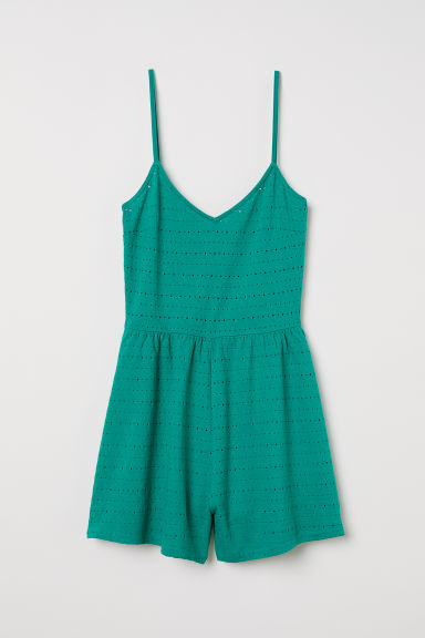 Broderie anglaise playsuit - Emerald green -  | H&M
