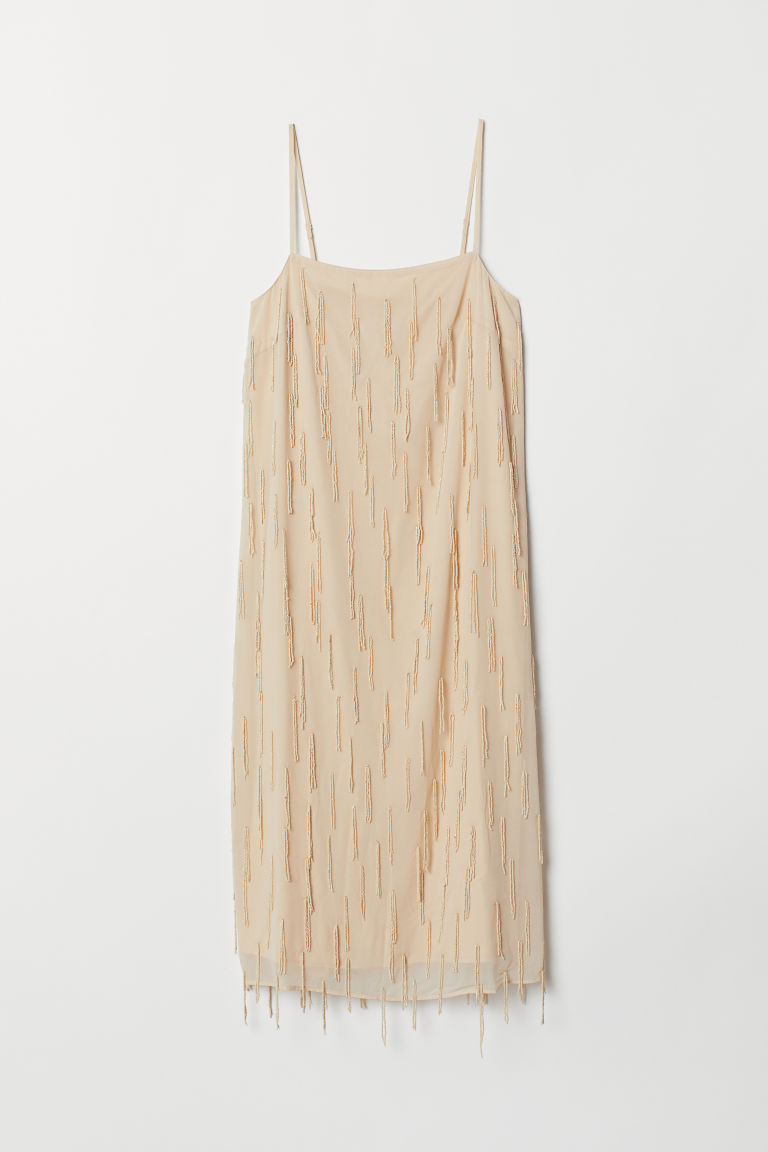 Dress with beaded fringes - Light beige - Ladies | H&M