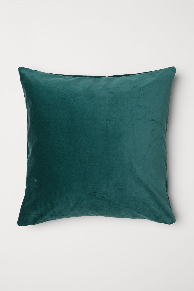 Cotton velvet cushion cover - Dark green - Home All | H&M GB 1