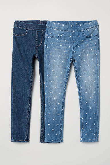 2-pack denim leggings - Denim blue/White spotted - Kids | H&M