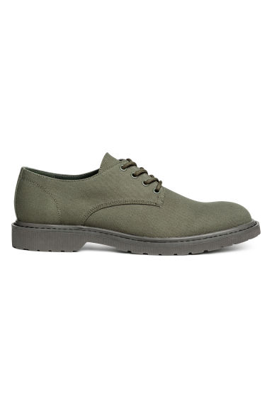 Canvas Derby shoes - Dark khaki green - Men | H&M