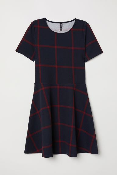 Short-sleeved jersey dress - Dark blue/Red checked - Ladies | H&M