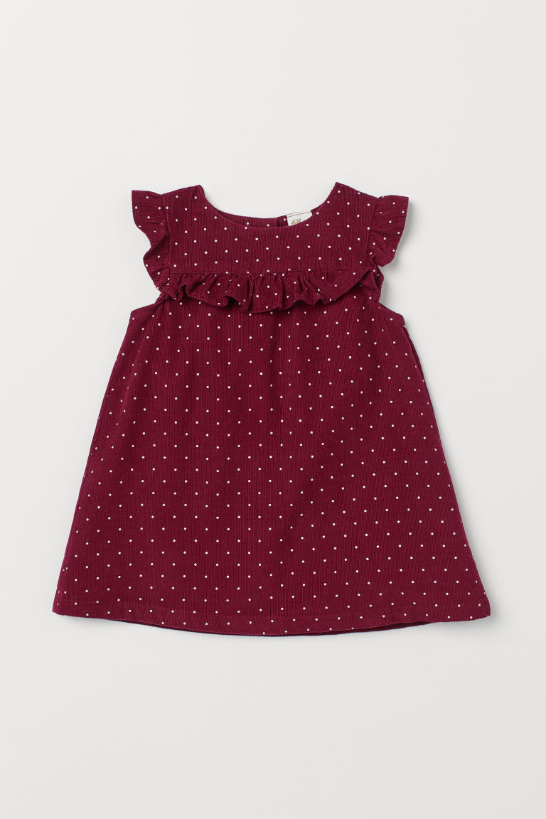 Butterfly-sleeved dress - Dark red/Spotted - Kids | H&M