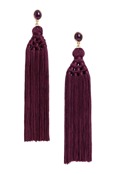 Tasselled earrings - Purple -  | H&M