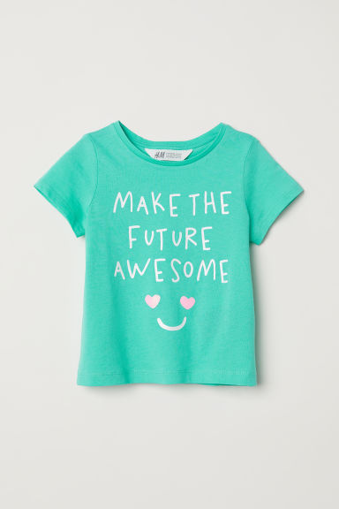 Printed jersey top - Light green/Hearts - Kids | H&M