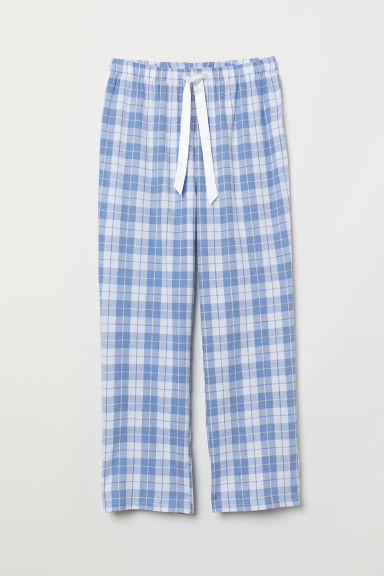 Flannel pyjama bottoms - White/Blue checked - Ladies | H&M