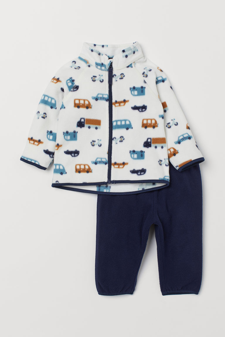 Fleece jacket and trousers - Dark blue/Cars - Kids | H&M