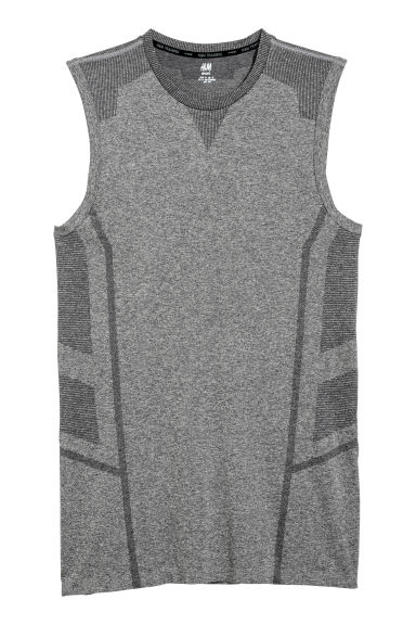 Seamless sports top - Grey marl -  | H&M