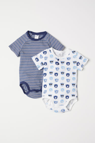 2-pack cotton bodysuits - White/Bears - Kids | H&M