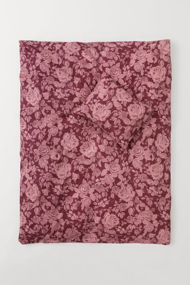 Set copripiumino a fiori - Bordeaux/rose - HOME | H&M IT