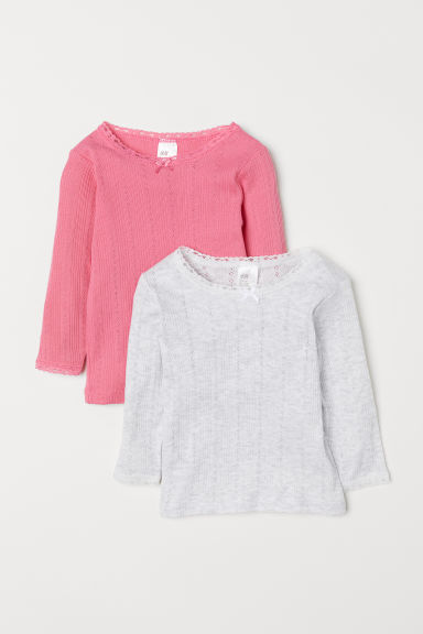 2-pack pointelle tops - Pink/Light grey marl - Kids | H&M