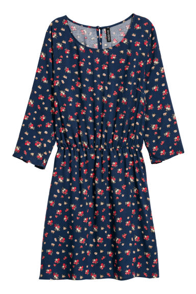 Short dress - Dark blue/Floral -  | H&M CN