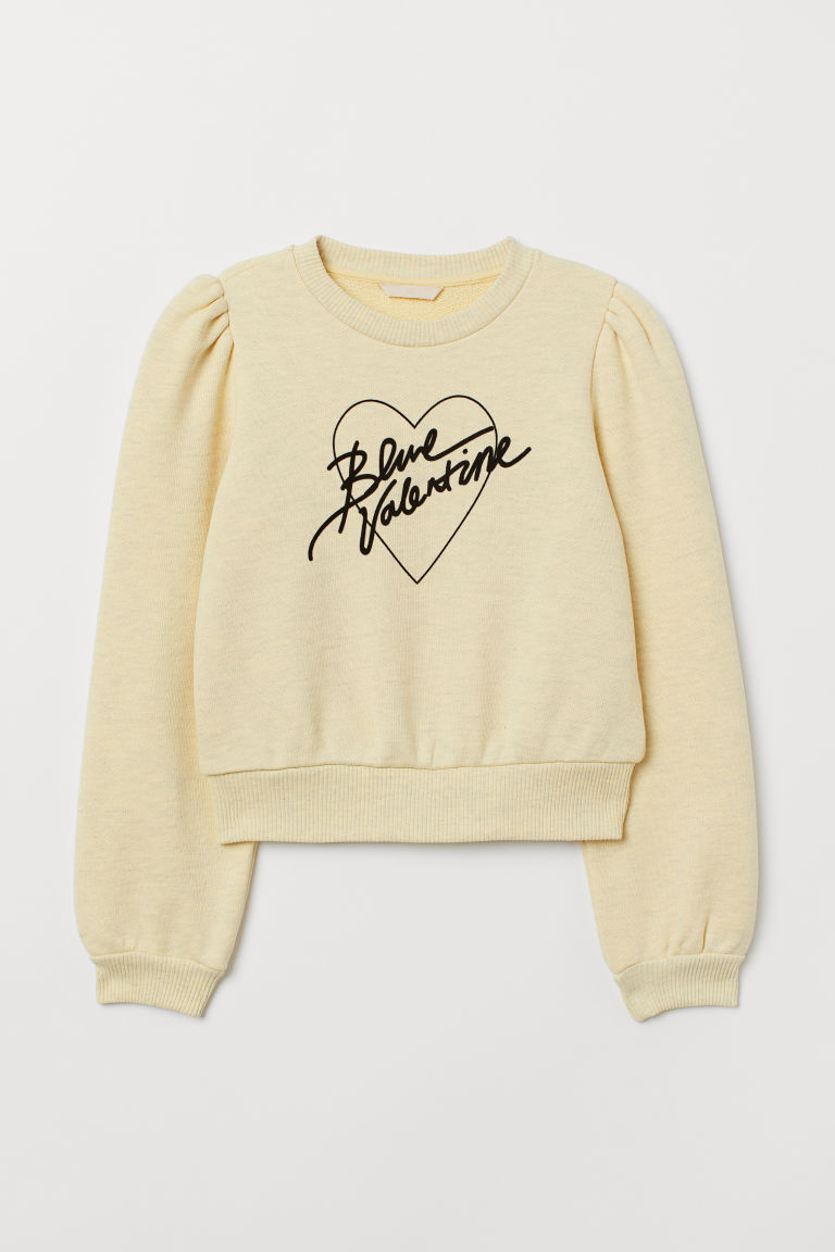 Flock-print sweatshirt - Yellow marl - Ladies | H&M