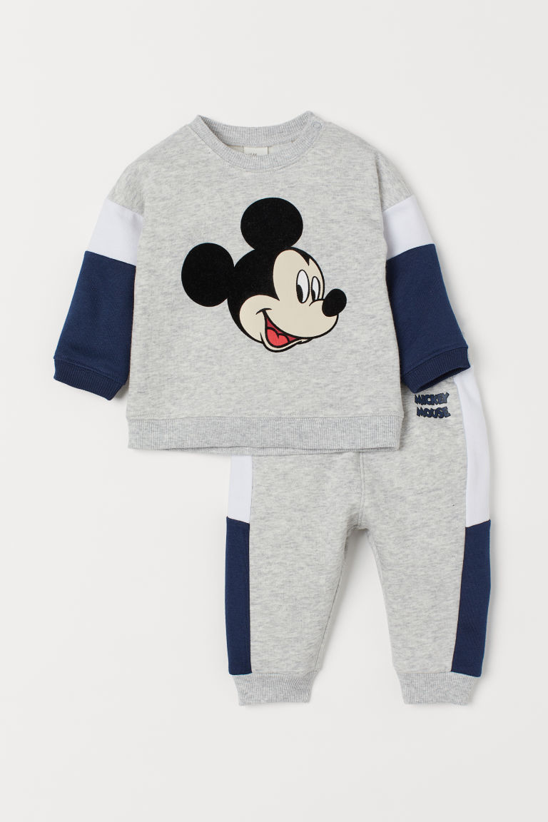 Sweatshirt and Joggers - Lt. gray melange/Mickey Mouse -  | H&M US