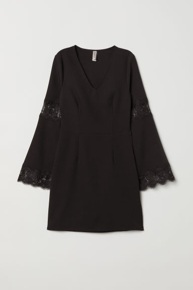 Dress with lace - Black -  | H&M CN
