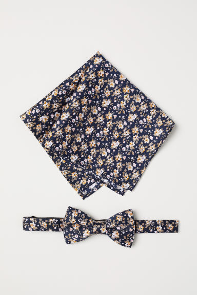 Papillon e fazzoletto - Blu navy/fiori -  | H&M IT