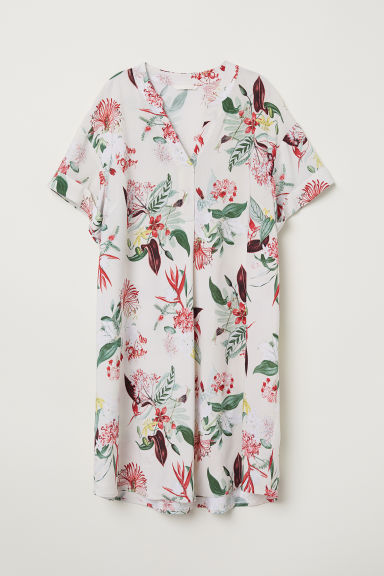 V-neck dress - Natural white/Floral - Ladies | H&M