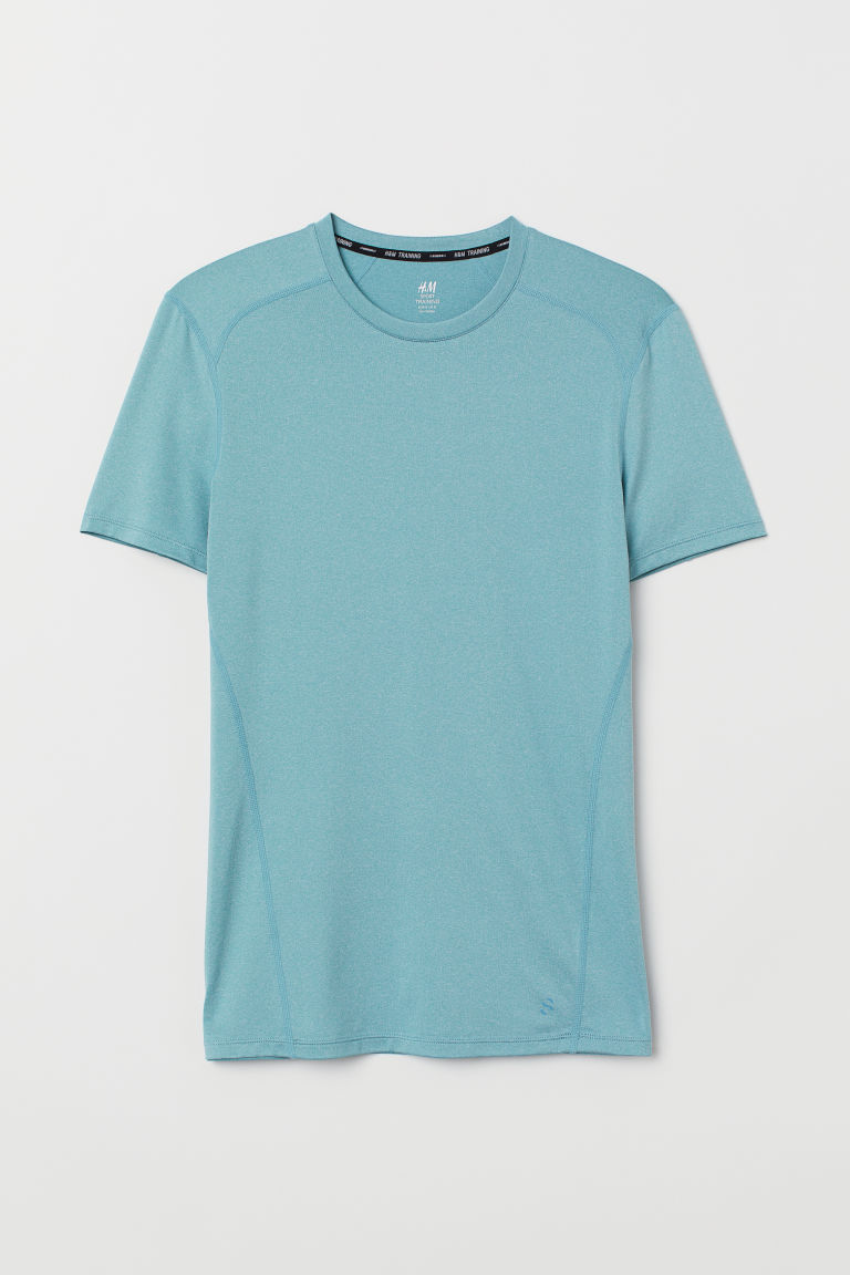 Short-sleeved sports top - Turquoise marl - Men | H&M