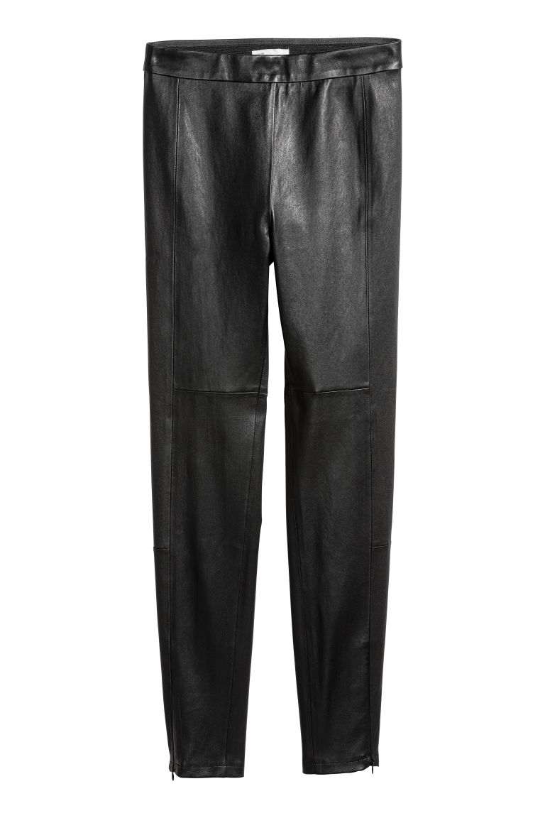 Leather trousers - Black - Ladies | H&M CN