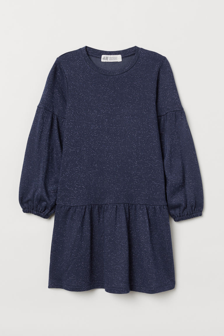 Jersey dress - Dark blue/Glittery - Kids | H&M