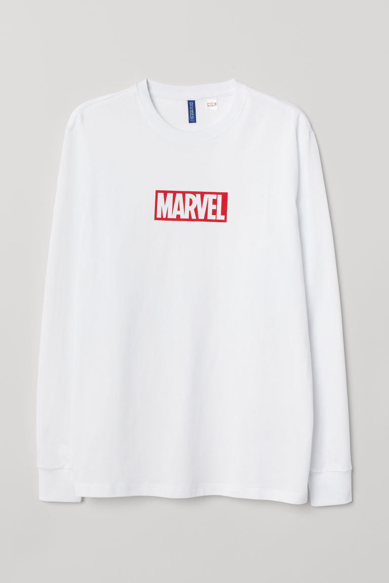 Long-sleeved jersey top - White/Marvel - Men | H&M
