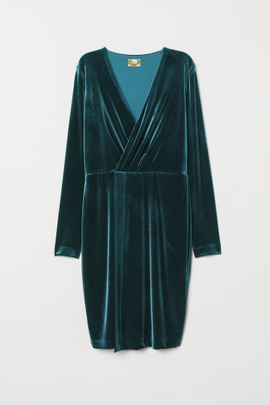 Velour dress - Petrol - Ladies | H&M GB