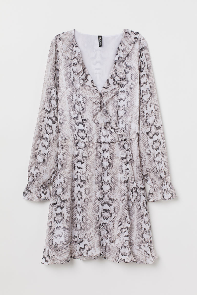 Short wrap dress - Grey/Snakeskin-patterned -  | H&M GB