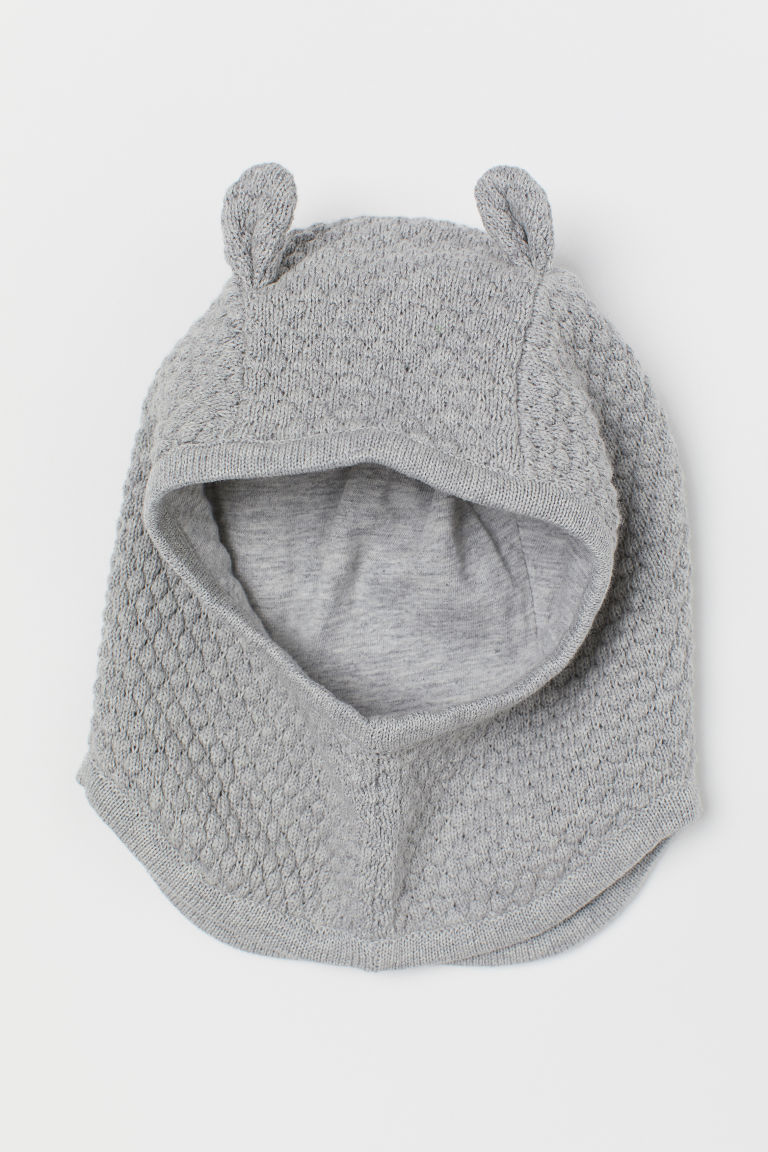 Cotton balaclava - Light grey marl - Kids | H&M