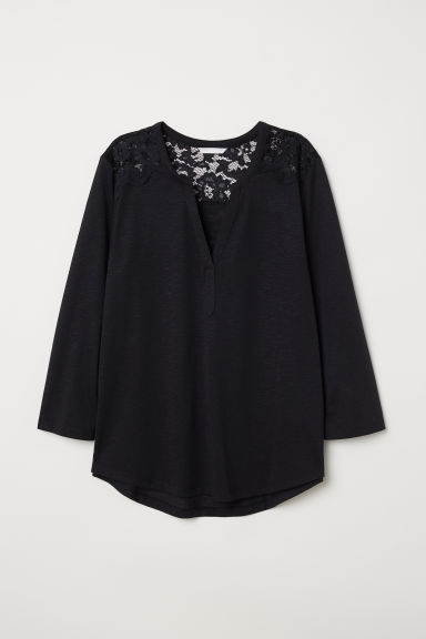 Top con carré in pizzo - Nero - DONNA | H&M IT
