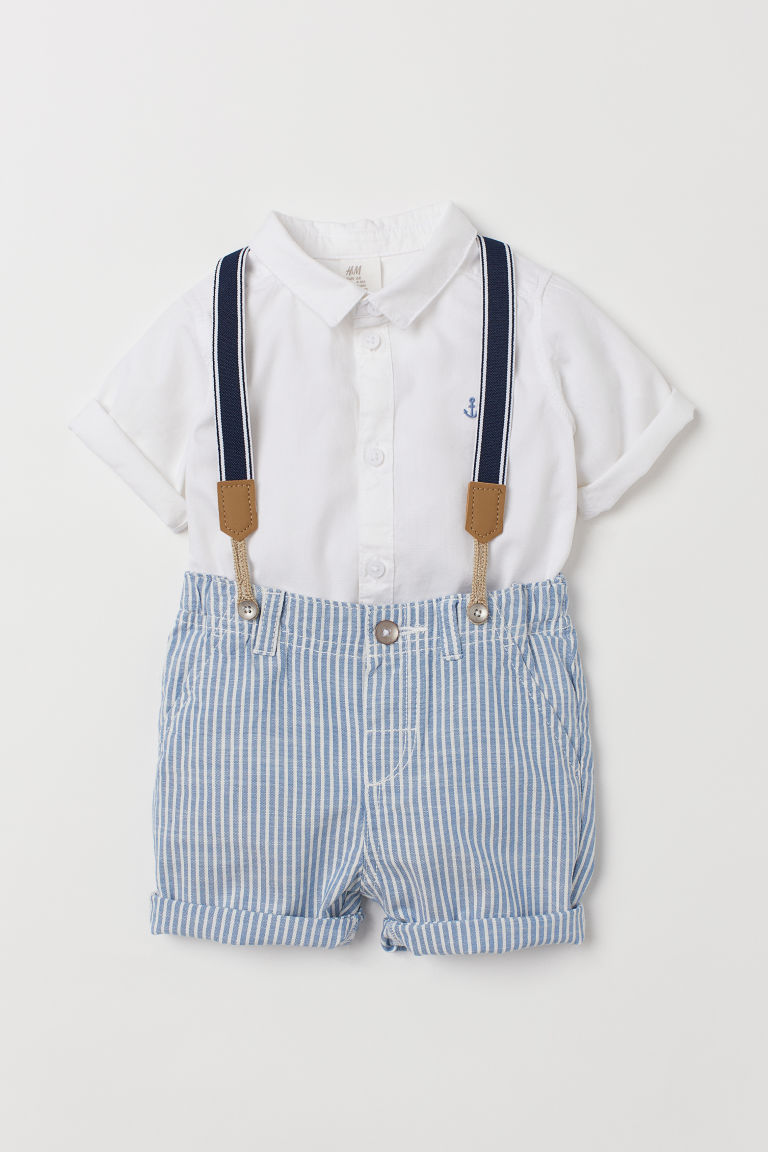 3-piece set - Blue striped/White - Kids | H&M IE
