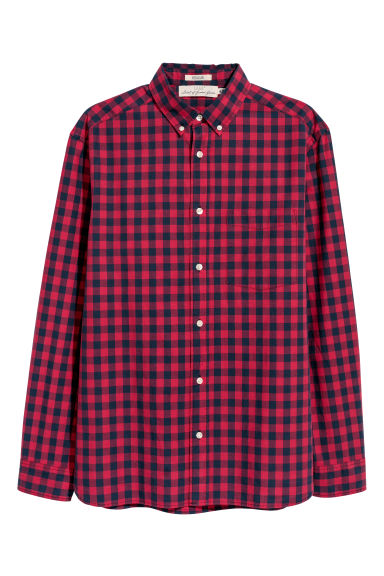 Poplin shirt Regular fit - Red/Blue checked - Men | H&M IE