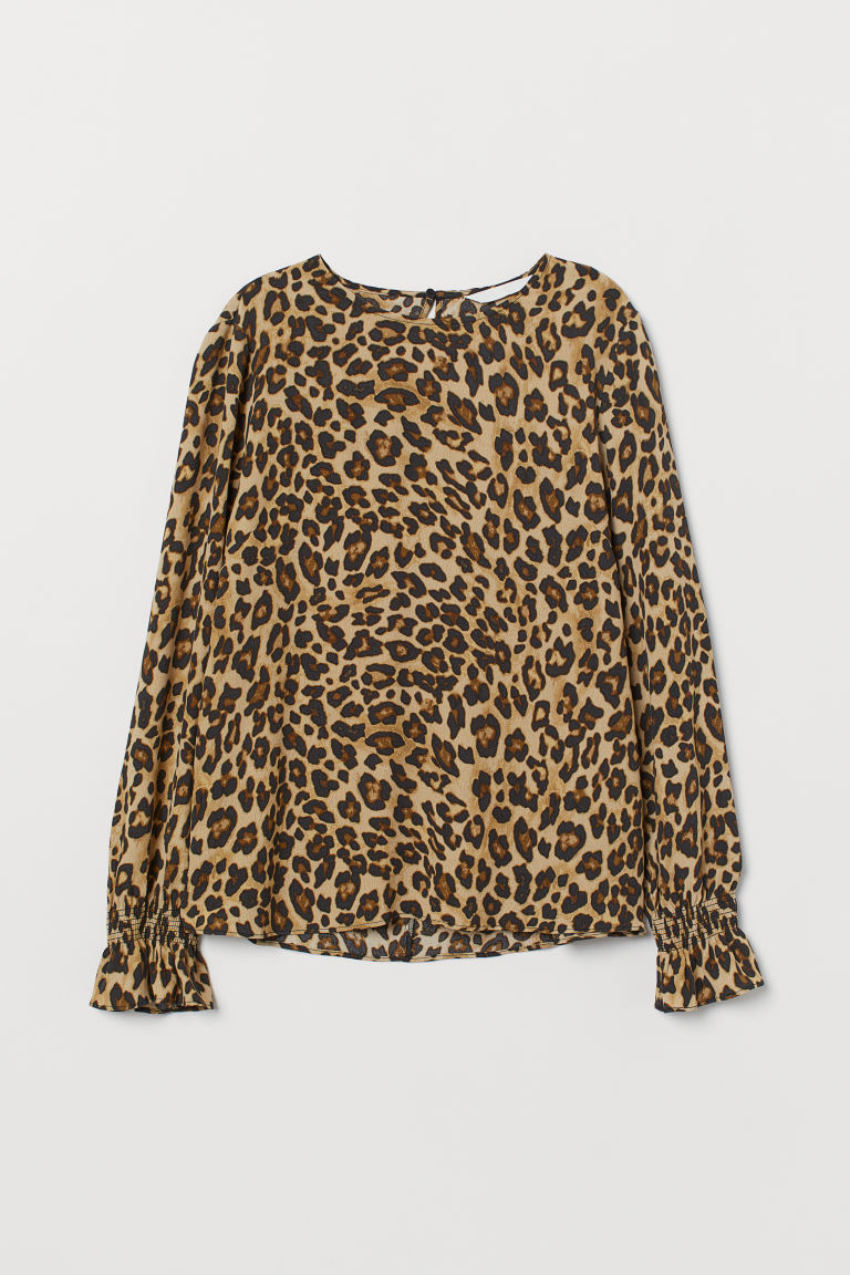 Gesmokte Bluse - Beige/Leopardenmuster - Ladies | H&M AT