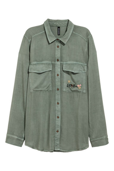 Shirt with embroidery - Khaki green - Ladies | H&M