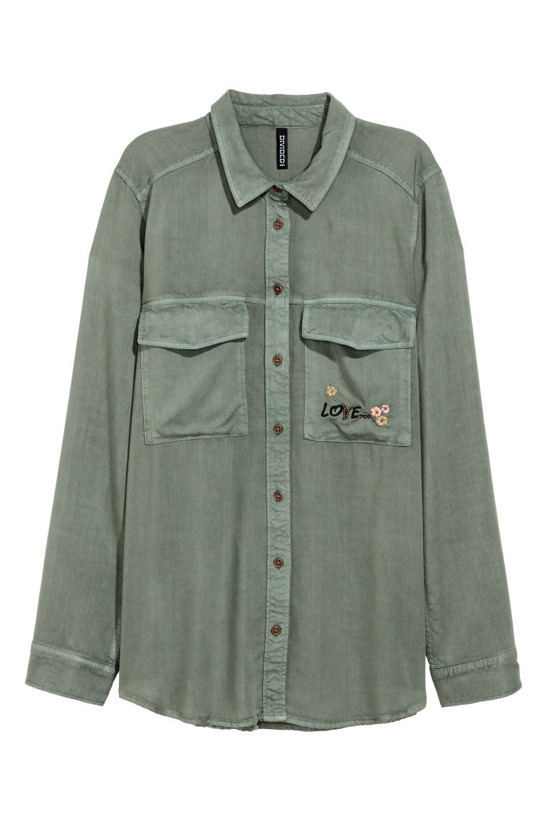 Shirt with embroidery - Khaki green -  | H&M