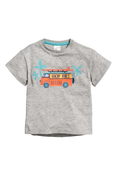 Cotton T-shirt - Light grey/Beachy Vibes - Kids | H&M