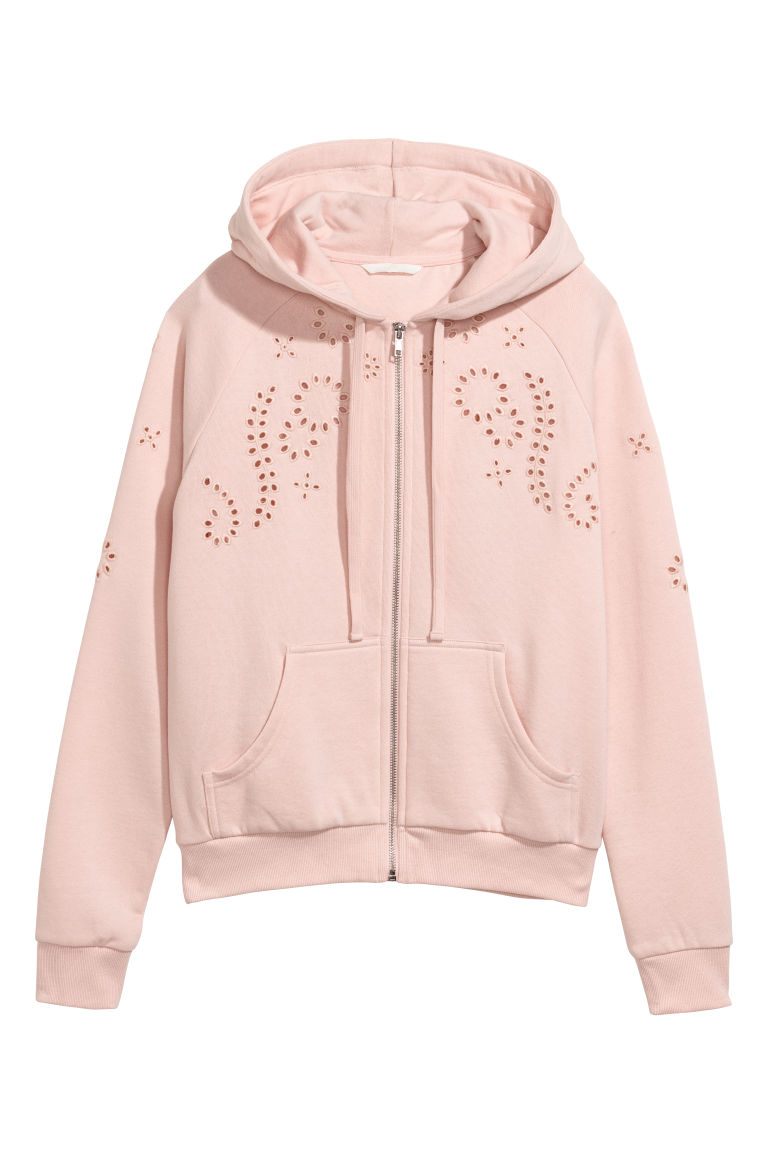 Hooded jacket with embroidery - Light pink - Ladies | H&M