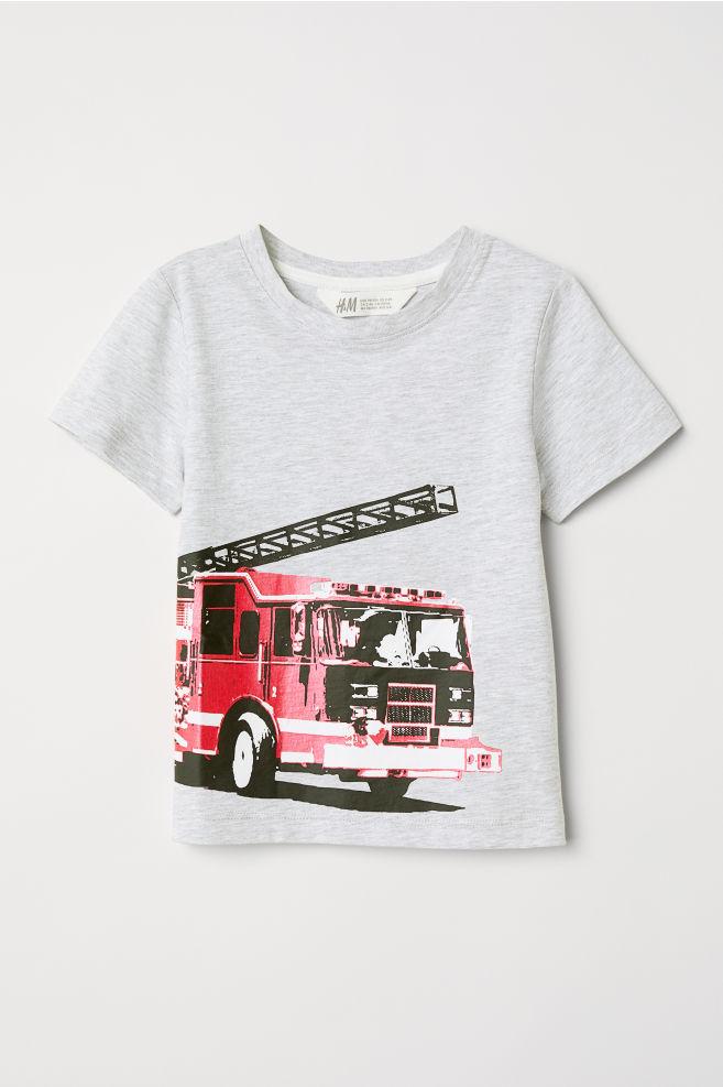6a736d597 Printed T-shirt - Grey marl/Fire engine - Kids | H&M ...