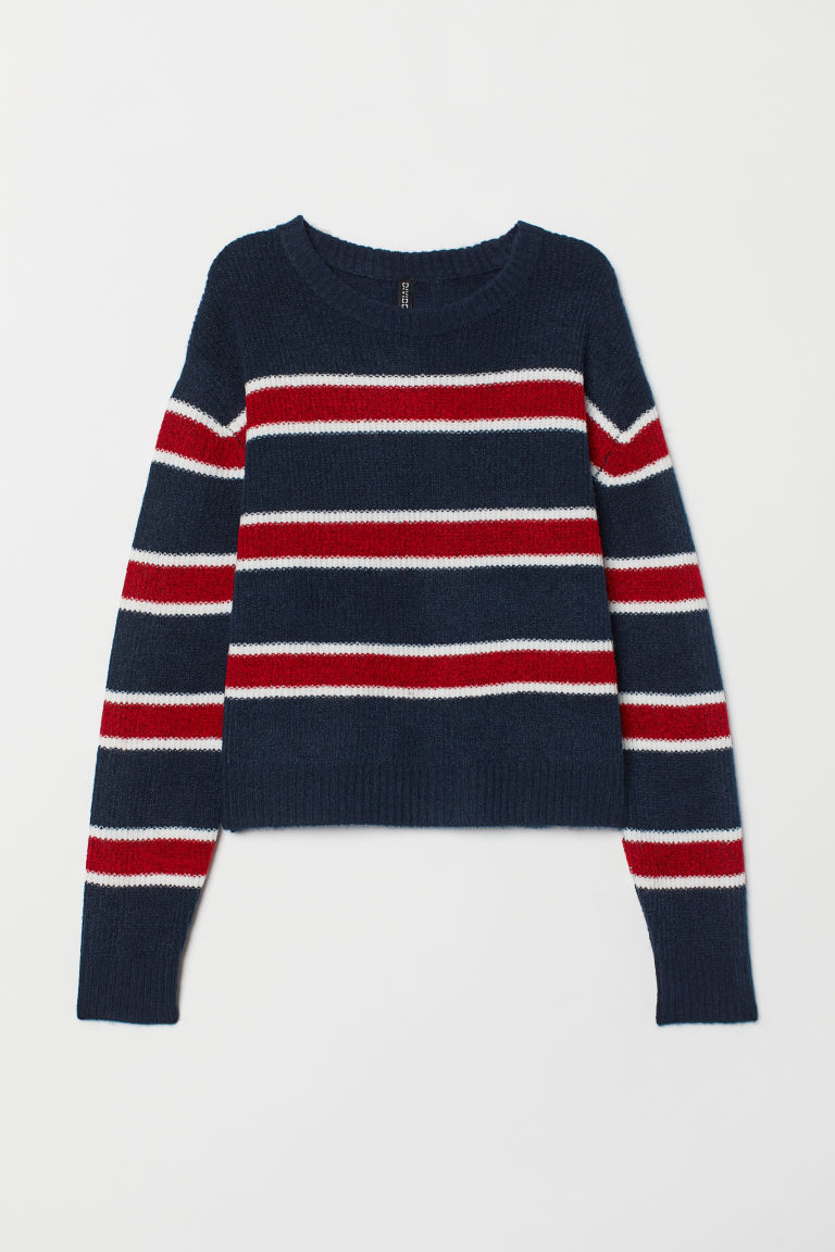 Knitted jumper - Dark blue/Striped -  | H&M CN
