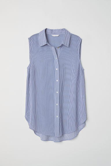 Sleeveless blouse - White/Blue striped - Ladies | H&M