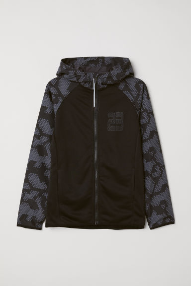 Hooded sports jacket - Black/Grey patterned -  | H&M