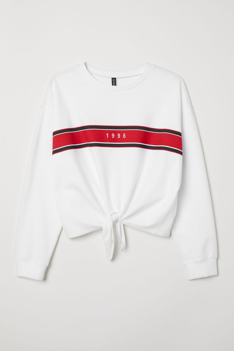 H&M+ Tie-detail sweatshirt - White/1996 - Ladies | H&M CN