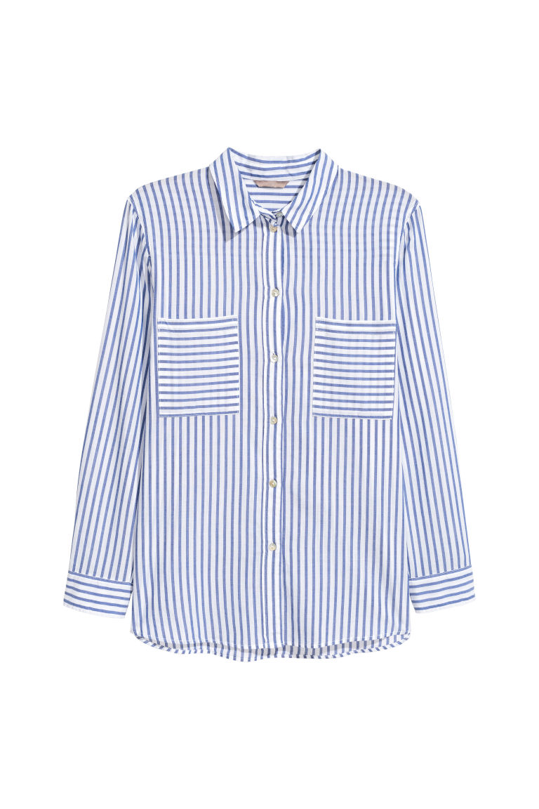 H&M+ Cotton shirt - White/Blue striped - Ladies | H&M