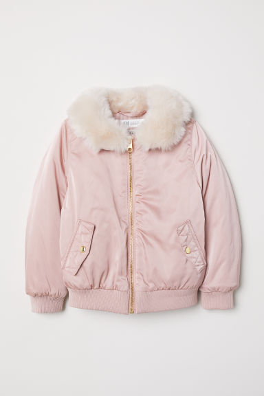 Faux fur collar bomber jacket - Old rose -  | H&M