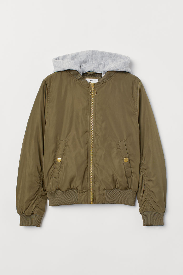 Hooded bomber jacket - Dark khaki green - Kids | H&M CN