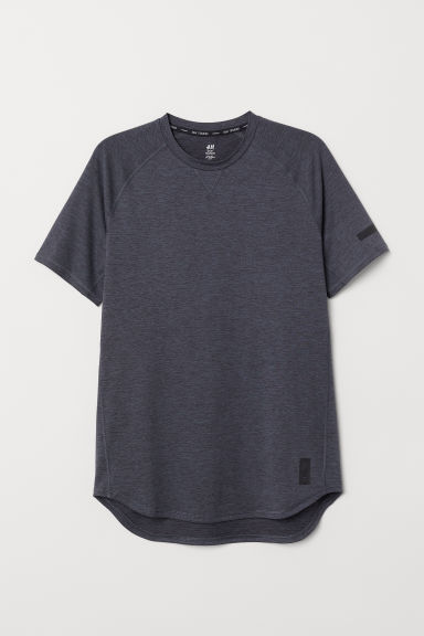 Short-sleeved sports top - Dark blue marl - Men | H&M