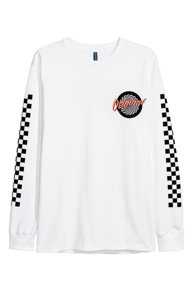 438714992580b3 Long-sleeved top - White/Original - Men | H&M ...