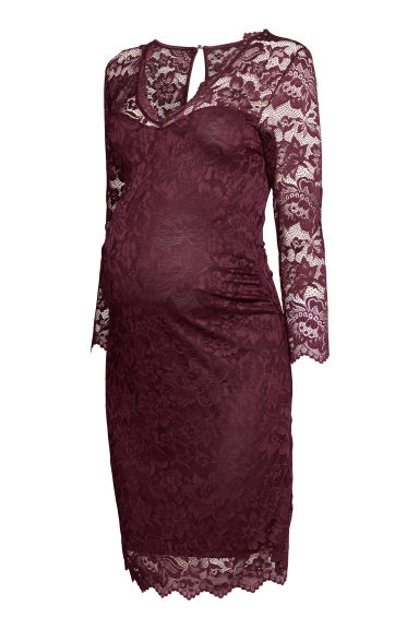 MAMA Lace dress - Burgundy - Ladies | H&M CN