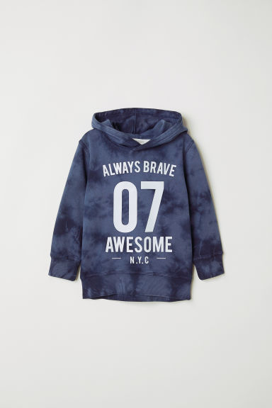 Washed-look hooded top - Dark blue - Kids | H&M CN