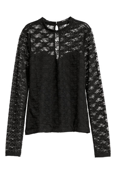 Lace top - Black - Ladies | H&M CN
