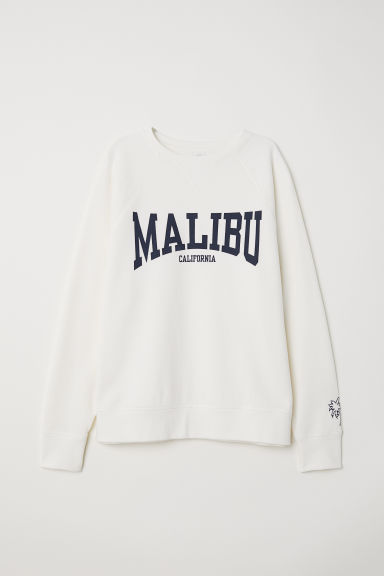 Sweatshirt with a motif - Natural white/Malibu -  | H&M CN